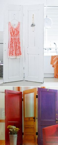Attach 2 or 3 doors with hinges to make a screen-like divider. | 27 Ways To Maximize Space With Room Dividers