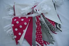 Hot Pink Silver and White Bunting for hire, from per metre for a 4 day hire period. Quality fabric bunting handmade in Chester. Fabrics used include polka dots, stripes, plain cottons and taffeta. Fabric Bunting, Bunting Garland, Buntings, Garlands, Wedding Bunting, Chester, Hot Pink, Period, Polka Dots