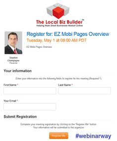 Registration Page on Meeting Burner customized with logo and presenters profile image #webinarway