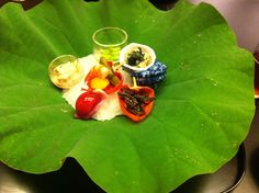 elegant meal on a leaf of lotus
