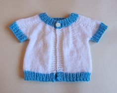"""top down baby jacket ~ for boys or girls        Newborn  DK Baby Jacket  Top down for boys and girls        Width:  16""""..."""