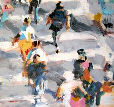 Depicting aerial views of urban scenes, American artist David Kapp's often paints busy crowds of people, swirling down streets or people walking quickly through a structured, man-made environment. In thick, broad brush strokes, Kapp represents light and movement in an Impressionistic style.