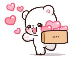 สติ๊กเกอร์ไลน์ Milk & Mocha: Custom Stickers - line2me.in.th Cute Love Pictures, Cute Love Gif, Pictures To Draw, Stickers Emojis, Cute Stickers, Cute Couple Cartoon, Cute Love Cartoons, Cute Disney Wallpaper, Cute Cartoon Wallpapers