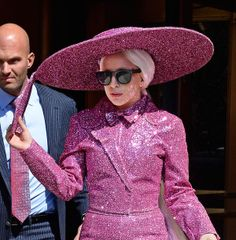 Lady Gaga steps out in the sparkling pink suit and extremely stacked platform shoes in Tribeca, NYC