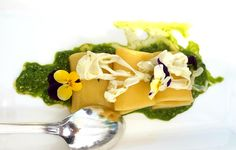 "Paccheri di Gragnano con julienne di seppie marinate menta e lime su pesto di rucola   ------------------------------------ ""Paccheri pasta with squid julienne marinated mint and lime on pesto rocket"