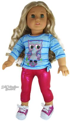 """Blue Owl T-Shirt + Leggings + Shoes Outfit for 18"""" American Girl Doll Clothes"""