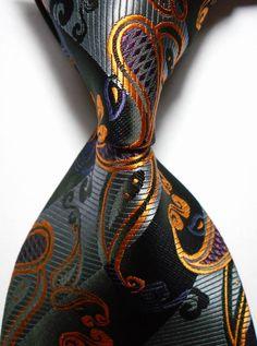 Men's Jacquard Woven Silk Necktie Paisley Gold Black.