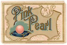 Antique Victorian Pink Pearl Advertising Label, Big Pink Pearl on Blue Velvet…