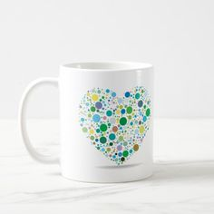 Mug Heart of dots green