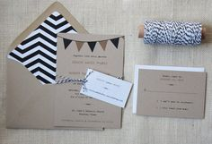 Rustic Wedding Invitations with Bunting by DawnCorrespondence