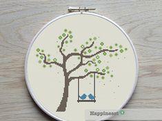 cross stitch pattern tree with birds PDF pattern  by Happinesst