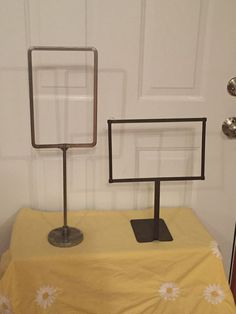 Lot Of 2 Vintage Metal Counter Top Store Sign Holders 1 with Weighted Bottom