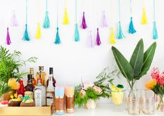 Colorful and Modern Tiki Party Inspiration via Oh So Beautiful Paper: http://ohsobeautifulpaper.com/2014/07/modern-tiki-party-inspiration/ | Invitations: Courtney Khail Watercolors | Calligraphy: Meant To Be Calligraphy | Styling + Floral Design + Photo: Nole Garey for Oh So Beautiful Paper #osbptikiparty #stgermaindrinks