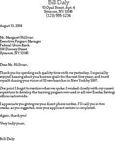 Follow Up Thank You Letter - Sample thank you letter with ...