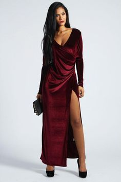Shop for Cameron Velvet Wrap Front Maxi Dress by boohoo at ShopStyle. f53044ba3