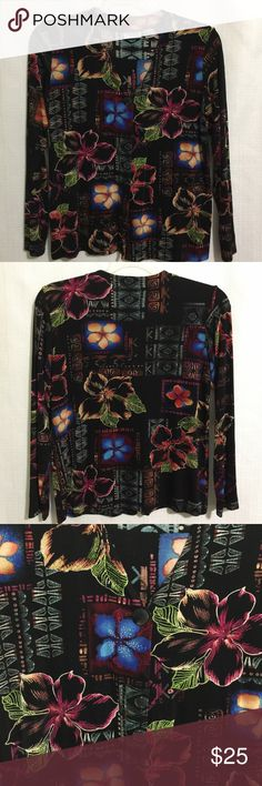 """Chicos Travelers Black Multi Colored Print Size 1 Chicos Travelers Black Multi Colored Print Florals Size 1  Material is 95% acetate/5% spandex Features: V neck One button closure Long sleeves  Measurements: Chest: 19.5"""" Sleeves: 22"""" Length from nape of neck to hem: 24""""  Condition: No flaws that I can see Chico's Jackets & Coats"""