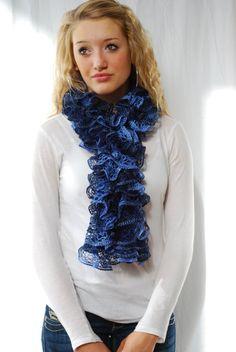 BLUE RUFFLE SCARF - Hand Knit Seattle Seahawk Blue - by Doreen Allen of Etsy shop AquaLumen. Featured in the following Etsy Treasury:  https://www.etsy.com/treasury/ODQxNjYwNXwyNzI1NDc0NjEz/dreamy-midnight-blue