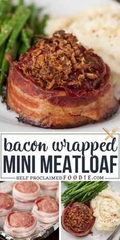 Bacon Wrapped Meatloaf is the best comfort food recipe you can make for dinner. Bacon Wrapped Meatloaf is the best comfort food recipe you can make for dinner. Ground beef and bacon served as mini meatloaf for individual portion sizes! Healthy Comfort Food, Best Comfort Food, Comfort Food Recipes, Dinner Healthy, Healthy Food, Gourmet Food Recipes, Comfort Foods, Ideas Comfort, Healthy Recipes