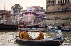 Monks on the Ganga, Varanasi, India #india #travel #Kamalan #culture #photo #Benaras #Varanasi #Ganga #Ganges #Buddhist monks