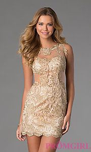 Buy Short Sleeveless Lace Dress at PromGirl