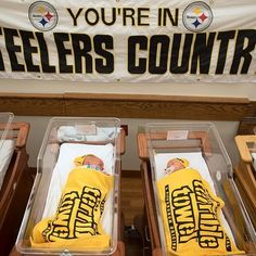 Steelers fans in the making: Newborn babies sleep in their Terrible Towels at the nursery station of the St. Clair Family Birth Center. Nurses are dressing newborns in Terrible Towels and Steelers beanies throughout the NFL playoffs at the Mt. Lebanon hospital. (Photo by Haley Nelson/Post-Gazette) #Pittsburgh #PGH #412 #Steelers #PittsburghSteelers #HereWeGoSteelers #LetsGoSteelers #NFL #NFLplayoffs #PGPhotos