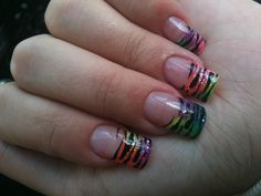 black tip nail designs | Health & Beauty » Rainbow Zebra Print Acrylic Nails