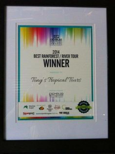 Tony's Tropical Tours has been awarded 'The Best Daintree Rainforest Tour' for the 5th consecutive year www.tropicaltours.com.au #awards #winner #besttour #ecotourism