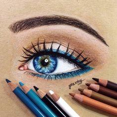 Art Drawings Sketches Simple, Pencil Art Drawings, Realistic Drawings, Colorful Drawings, Colored Pencil Artwork, Color Pencil Art, Eye Drawing Tutorials, Eye Art, Art Sketchbook