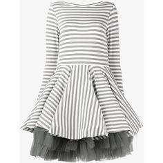 Natasha Zinko Mini Striped Jersey Dress ($1,130) ❤ liked on Polyvore featuring dresses, cocktail dresses, long sleeve cocktail dresses, long sleeve short dress, short evening dresses and holiday dresses