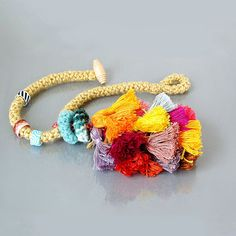 tassel necklace  textile necklace in yellow / mauve by MandyBesek