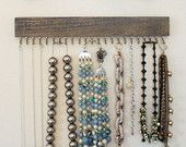 driftwood gray wood and brass hanging necklace display rack and organizer