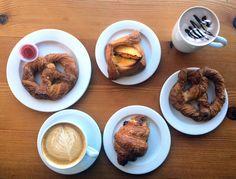 Coyle's Bakeshop - Cretzel ham and gruyére croissant, hot cocoa and a latté
