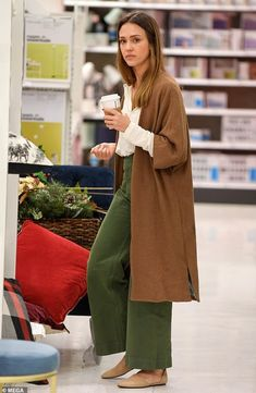 ShopStyle Look by SLUFOOT featuring Jesse Kamm Sailor Pant in Olive and Jesse Kamm Sailor Pant in Forest Service Green Jessica Alba Outfit, Jessica Alba Style, Jessica Alba Casual, Jessica Alba Fashion, Jessica Alba Hair, Look Fashion, Autumn Fashion, Fashion Outfits, Womens Fashion