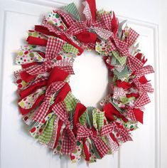 Christmas Wreath made with ribbons...love it...