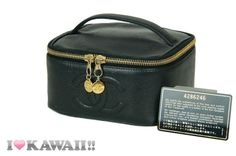 Auth CHANEL Black Leather Vanity Bag Hand Purse Pouch Cosmetic Free Shipping!