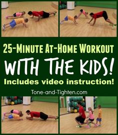 At-home-workout-exercise-with-kids-tone-and-tighten. Kids right? Lets be honest parents are busy! Between getting kids to school working errands meals soccer little league tub time and bed time weve got a completely full day! Too frequently our time for Family Fitness, Fitness For Kids, Lose Weight, Weight Loss, Exercise For Kids, Kids Workout, Workout Fitness, Gym For Kids, Boxing Workout