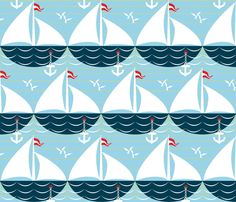 palette-restricted sailing_ship_scallop fabric by glimmericks on Spoonflower - custom fabric