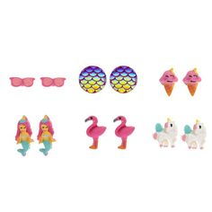 6 Pack Tropical Magic Stud Earrings | Magic meets the beach when it comes to this set of earrings! This 6 pack of earrings includes cute and tropical icons like sunglasses, flamingos, and ice cream cones, along with magic icons like mermaids, mermaid scales, and unicorns.