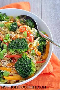 This healthy veggie loaded chickpea stir fry is a great way to use leftover veggies. Vegan, gluten free and grain free! Paleo option as well.
