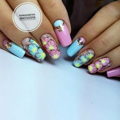 Fotografii (With images) Coffin Nails, Acrylic Nails, Nailart, Short Nails Art, Flower Nails, Summer Nails, Nail Art Designs, My Nails, Hair Beauty