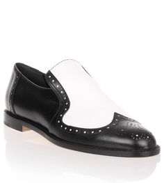 Jacquette black and white leather slip-on Manolo Blahnik - Savannah's