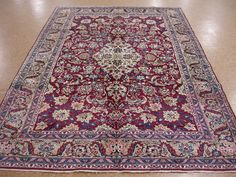 7x10 Persian Kerman Hand Knotted Wool Traditional Reds Blues Floral Oriental Rug   eBay