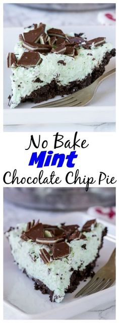 No Bake Mint Chocolate Chip Pie – a creamy mint pie with chocolate chips, topp. - No Bake Mint Chocolate Chip Pie – a creamy mint pie with chocolate chips, topped with Andes mints, all in an Oreo crust! Such an easy no bake recipe for those hot days. Brownie Desserts, Mint Desserts, Easy No Bake Desserts, Easy Baking Recipes, Oreo Dessert, Delicious Desserts, Dessert Recipes, Baking Desserts, Baking Cupcakes