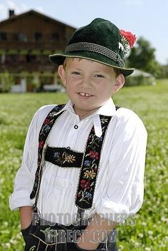 little boy wearing traditional bavarian national costume stock photo
