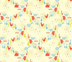 Red Rooster fabric by edward_elementary on Spoonflower - custom fabric