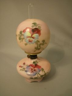 Antique Miniature Oil Lamp, milk glass with pink ground and floral decoration The Semprini Collection