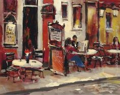 beautiful sidewalk cafe | ... cafe painting we offer 100 % handmade reproduction of sidewalk cafe