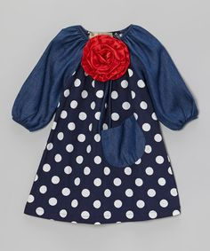 Take a look at this Navy & Denim Blue Dot Flower Peasant Dress - Toddler & Girls by Lele Vintage on #zulily today!