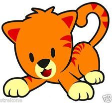 Cute ORANGE TABBY CAT / Kitten Art - Colorful Window Cling Decal Sticker - NEW