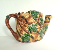 Vintage Magolica Watering Can 1980s Ivy On by looseendsvintage, $30.00